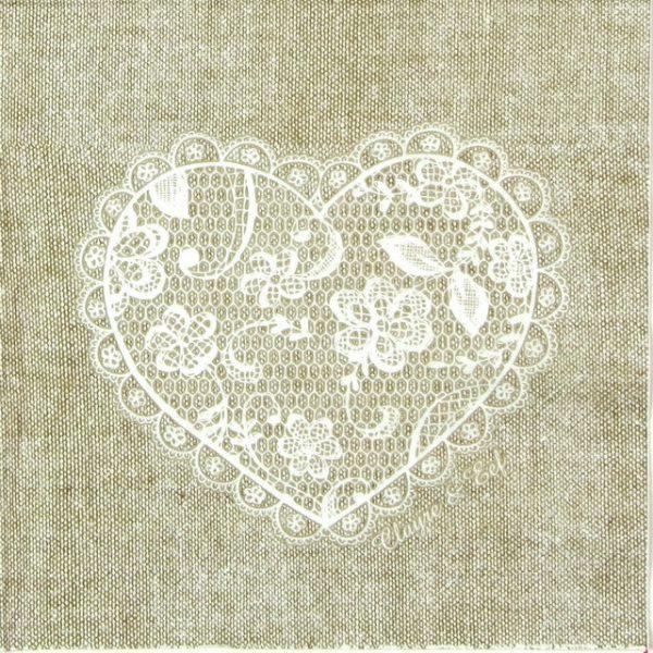 Paper Napkin - Heart Lace Nature