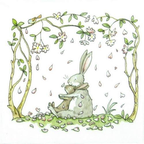 Paper Napkin - Anita Jeram: Blossoms and Bunnies