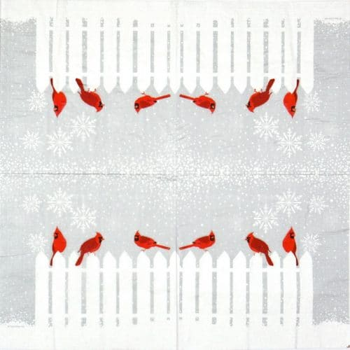 Cocktail Napkin - Two Can Art: Snowfall Cardinals