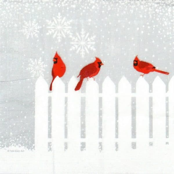 Cocktail Napkin - Two Can Art: Snowfall Cardinals