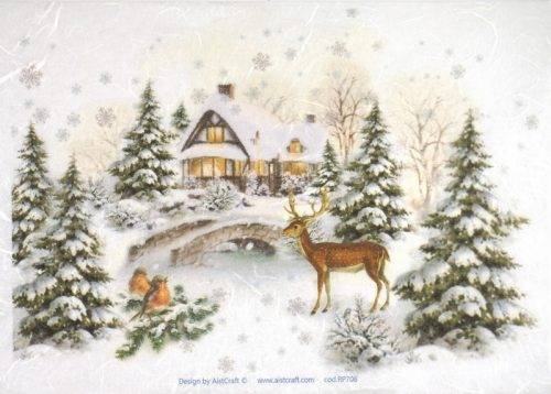 Rice Paper - Winter Forest with Deer