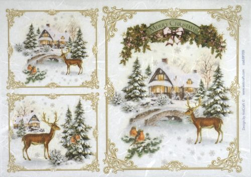 Rice Paper - Winter Forest with Deer Small