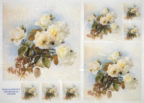 Rice Paper - White roses on blue