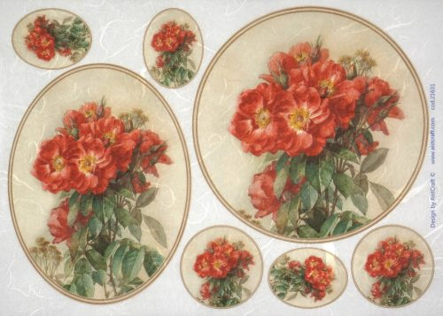 Rice Paper - Red bouquet in frame