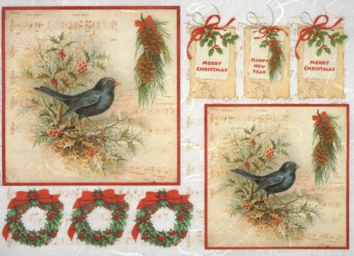 Rice Paper - Marry Christmas Birds