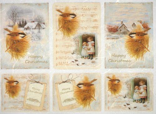 Rice Paper - Happy Christmas Birds
