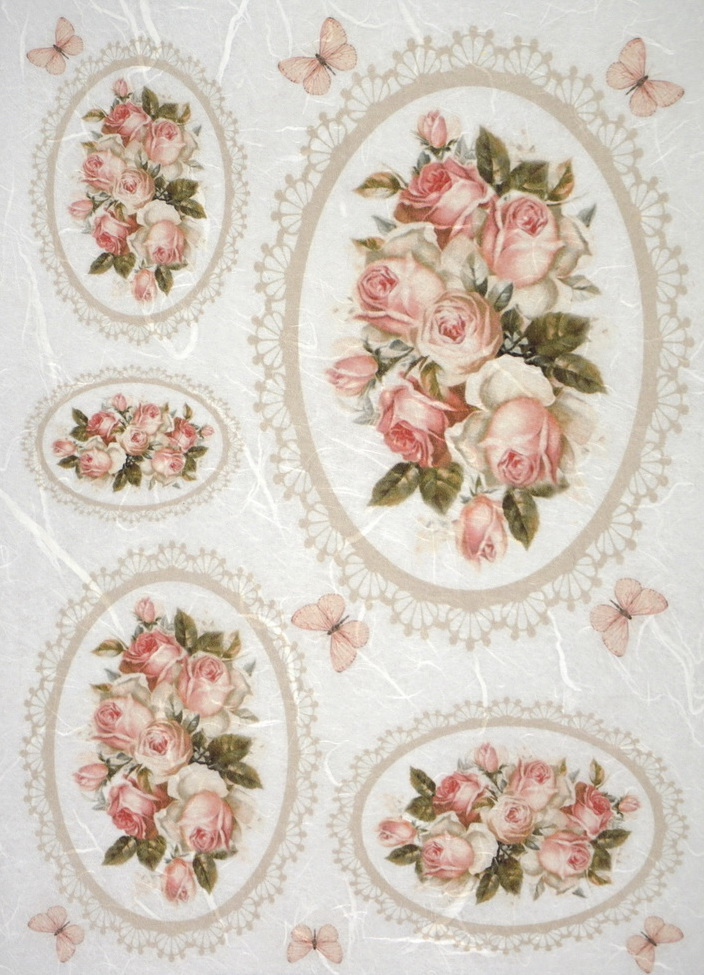 Rice Paper - Pink roses in frames
