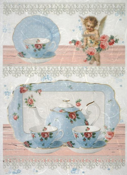 Rice Paper - Blue tea set