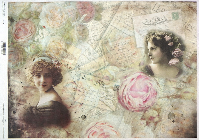 Rice Paper A/3 - Vintage Girls, Roses and Letters