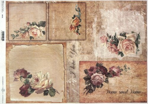 Rice Paper A/3 - Vintage Home Sweet Home Roses