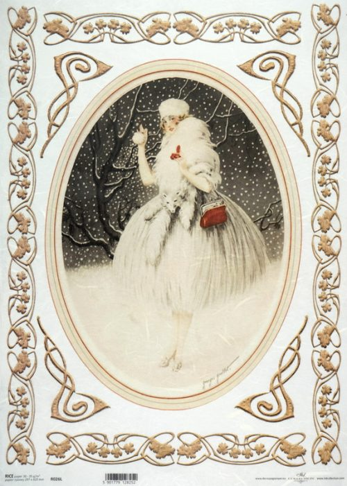 Rice Paper A/3 - Vintage Winter Lady