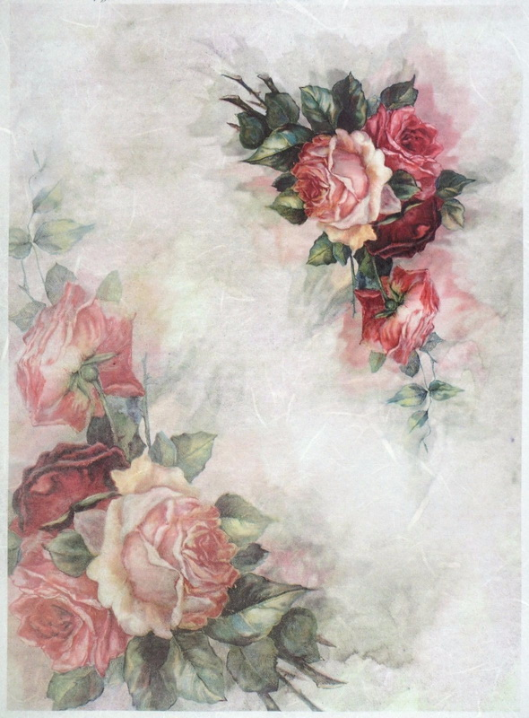 Rice Paper A/3 - Vintage Red Painted Rose