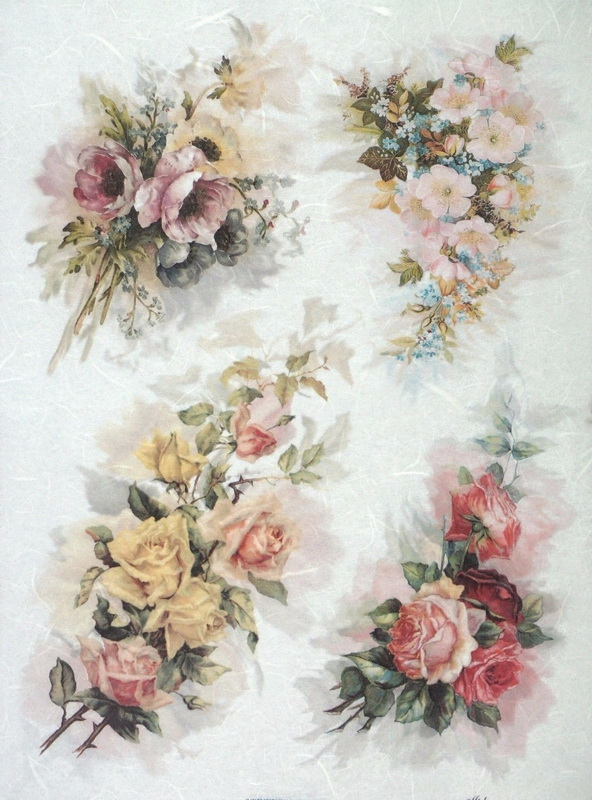 Rice Paper A/3 - Four Bouquets of Roses