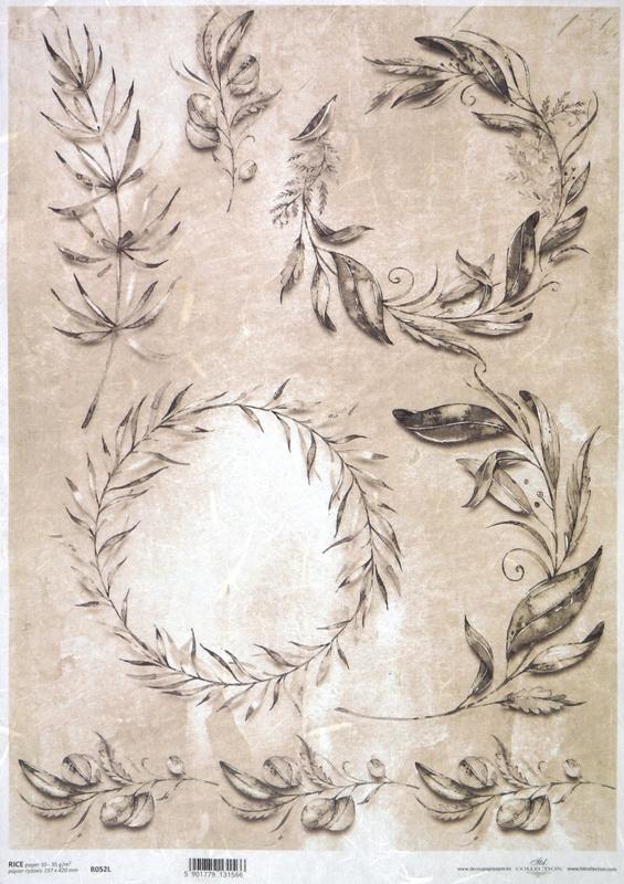 Rice Paper - Vintage Twigs & Leaves