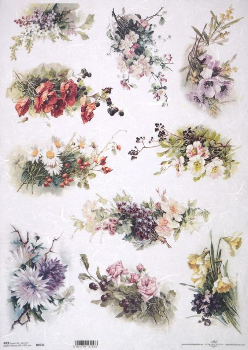 Rice Paper A/3 - Different Flower Bouquets