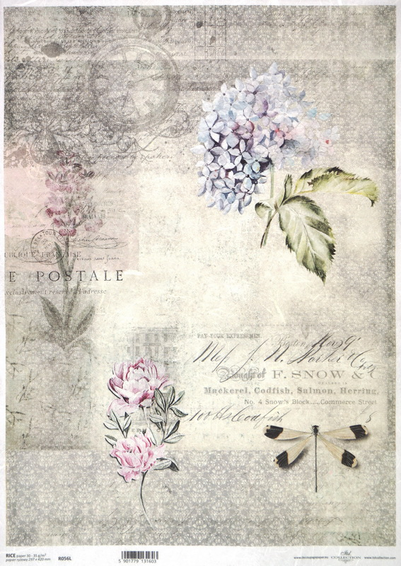 Rice Paper A/3 - Vintage Flowers and Dragonfly