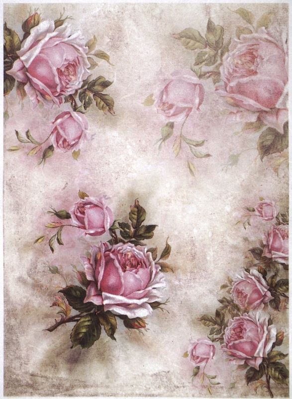Rice Paper A/3 - Pink Roses and Shadows