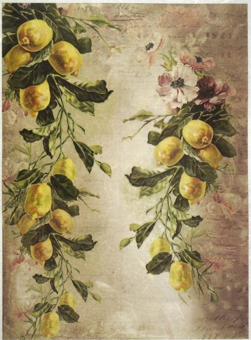 Rice Paper A/3 - Mulberry Lemon Wallpaper