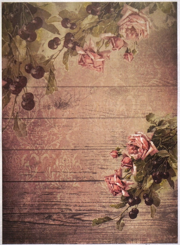 Rice Paper A/3 - Cherry and Roses Wallpaper