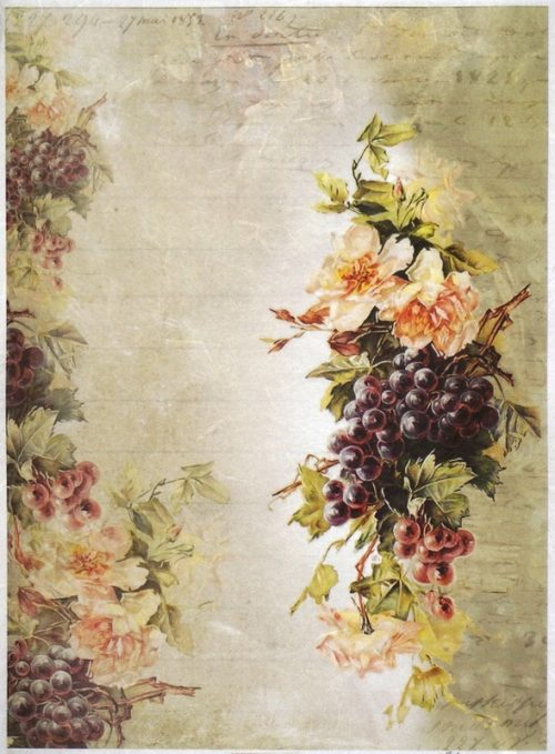 Rice Paper A/3 - Grapes & Flower Wallpaper
