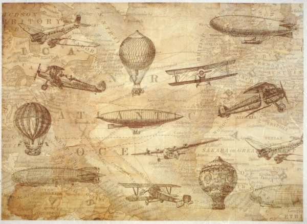 Rice Paper - Old map- airplane