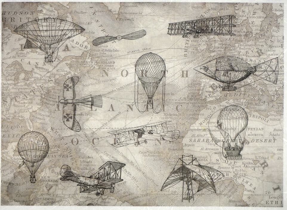 Rice Paper  - Old map - Aircraft