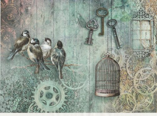 Rice Paper A/3 - Birds and Keys