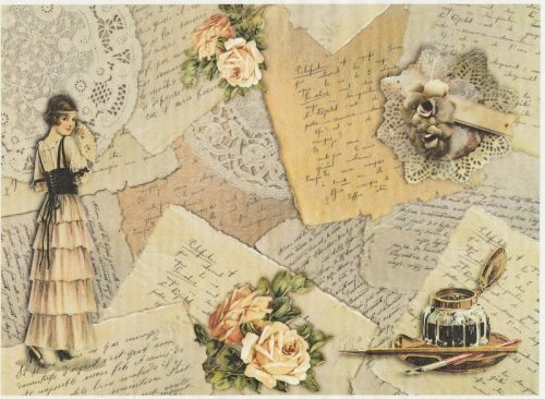 Rice Paper A/3 - Vintage Love letters