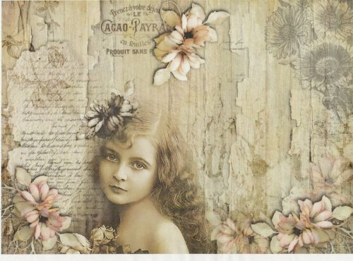 Rice Paper A/3 - Vintage Girl with flower