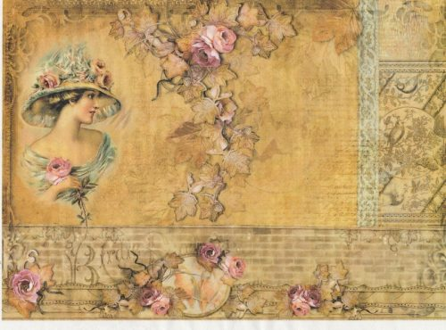 Rice Paper A/3 - Vintage Girl with Ivy
