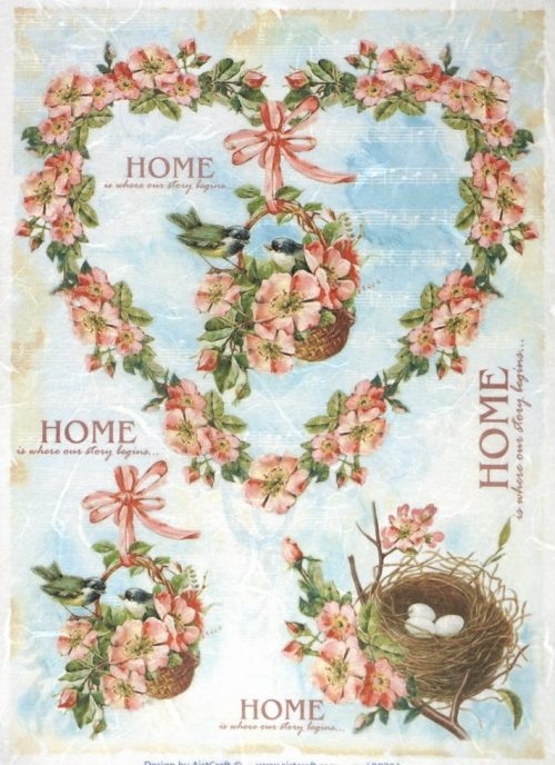 Rice Paper - Sweet Home Birds Heart