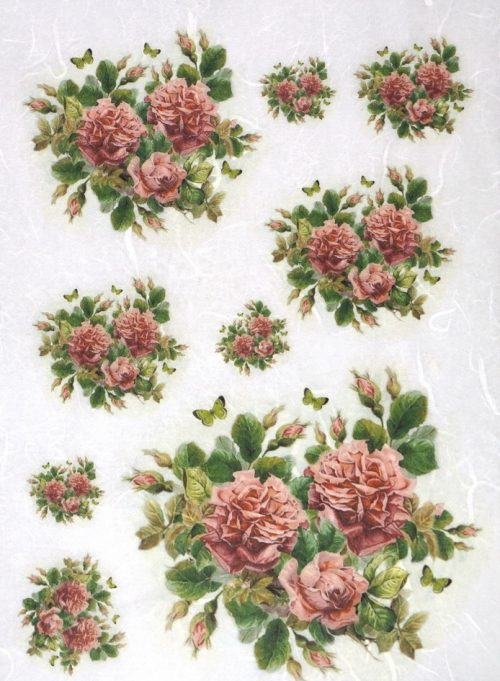 Rice Paper - Red Roses in small bouquets