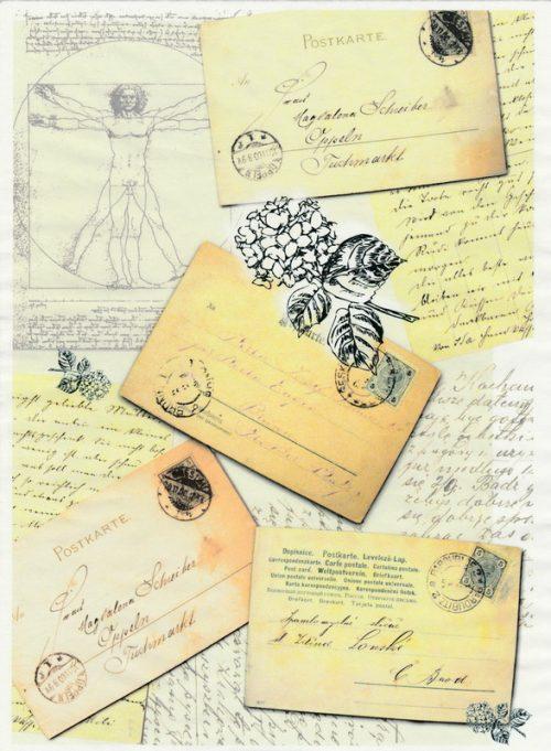 Soft Decoupage Paper - Vintage Postcard 2