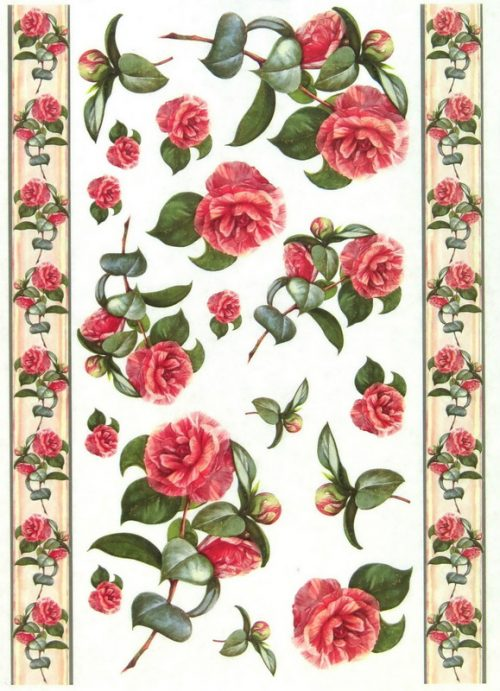 Soft Decoupage Paper - Vintage red Roses and Borders