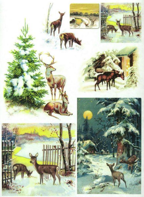 Soft Decoupage Paper - Vintage Deer Fawns