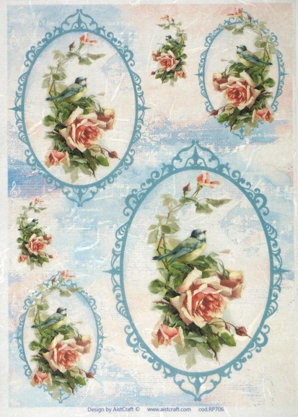 Rice Paper - Rose in Blue Frame