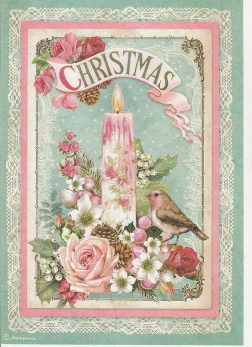 Rice Paper - Pink Christmas candle