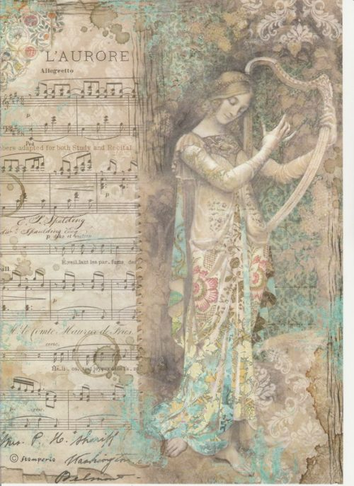 Rice Paper - Lady with harp