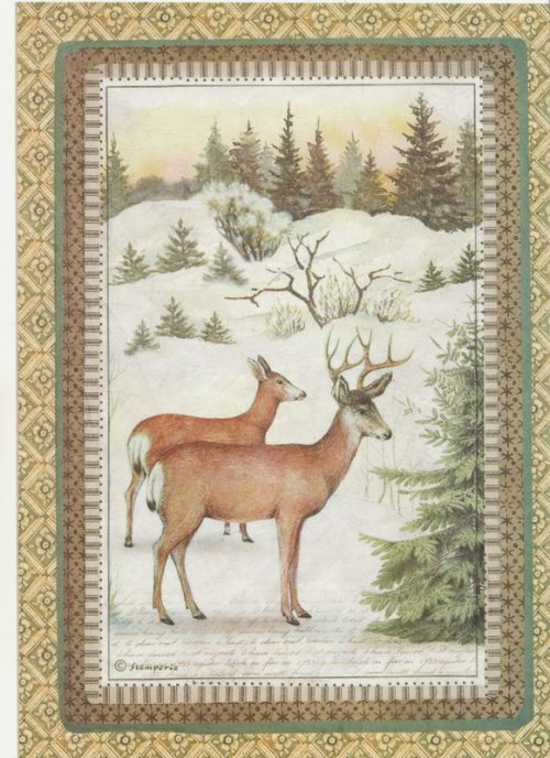 Rice Paper - Winter Botanic reindeer