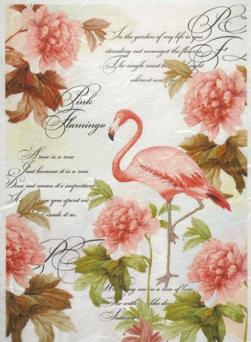 Rice Paper - Pink flamingos large
