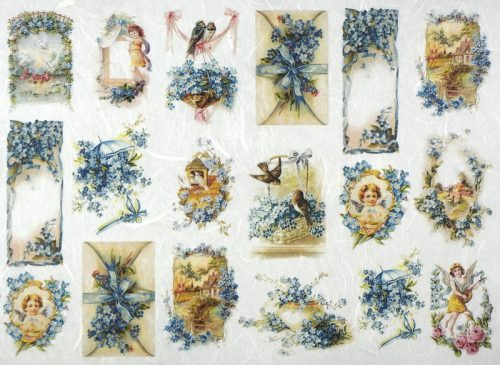 Rice Paper - Blue Flowers Small