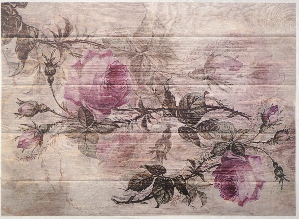 Rice Paper - Painted roses on board