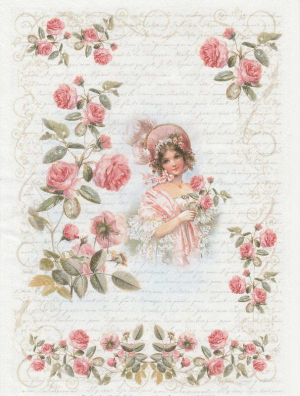 Rice Paper - Girl in Rose Garden