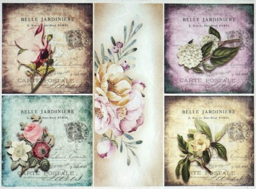 Rice Paper - Vintage flower cards