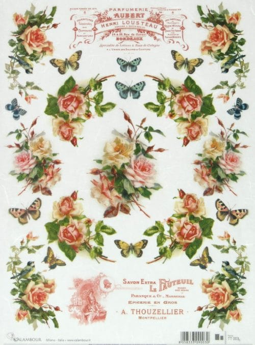 Rice Paper - Roses and Butterflies