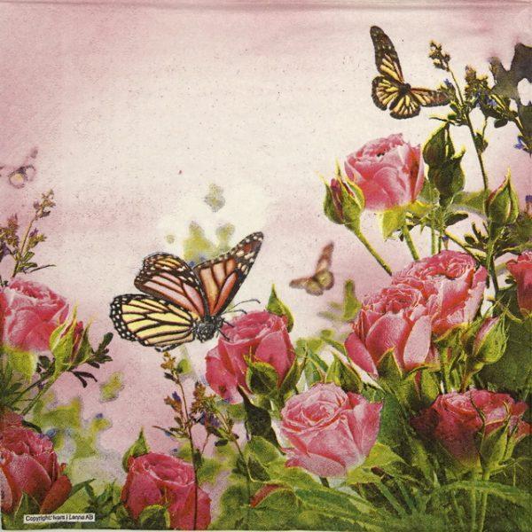 Paper Napkin - Pink Rose Garden 2
