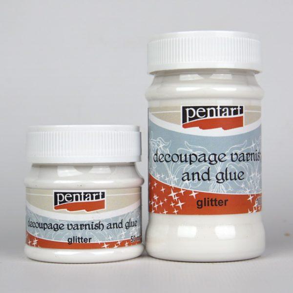 Pentart Glitter Decoupage Varnish and Glue 50 or 100ml