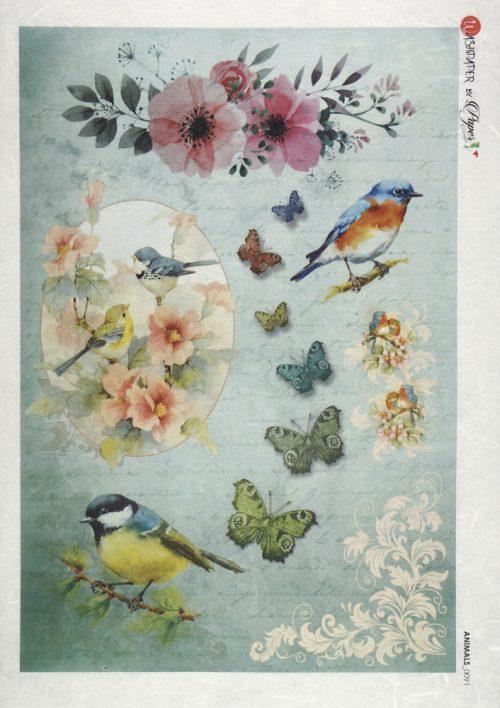 Rice Paper - Birds and butterflies