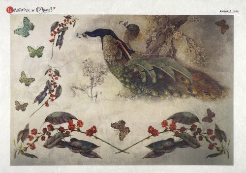 Rice Paper - Painted peacocks