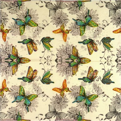 Lunch Napkins (20) - Butterfly World Cream